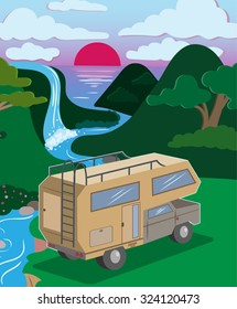Vector Color Outdoor Camper Illustration