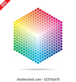 Vector color palette. 331 different colors in small hexagons.