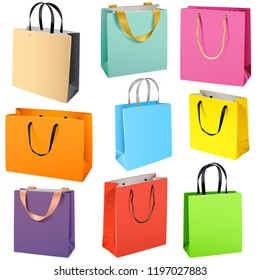 Vector Color Paper Bags isolated on white background