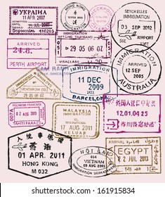 vector color passport stamps - travel theme background