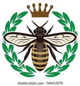 Vector color pattern with flying bee and crown.