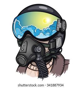 Vector Color Pilot Illustration