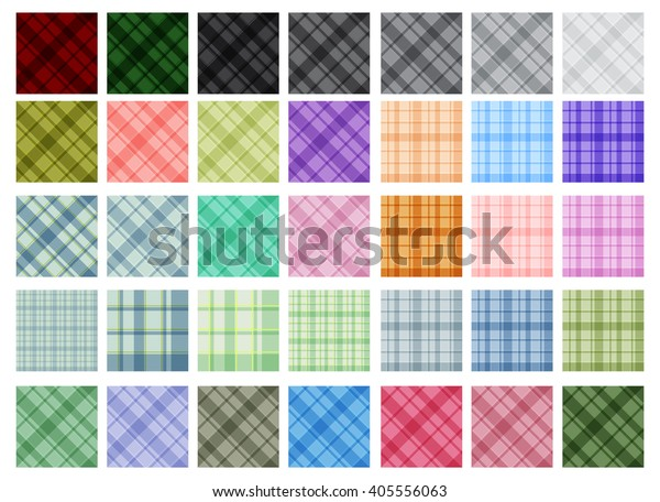 Vector color plaid seamless patterns set