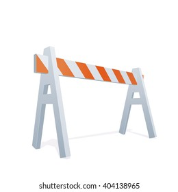 Vector Color Realistic Illustration Of Traffic Barrier