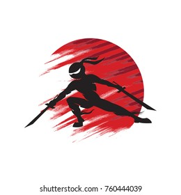Vector color red sun ninja silhouette with katana sword
