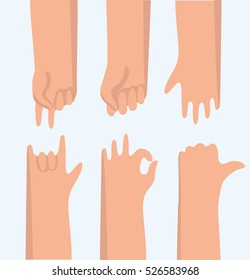 Vector color set of funny cartoon illustration of variety gestures hands