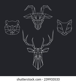 Vector color set with geometric polygon animal of triangles. Deer, bear, goat, cat.