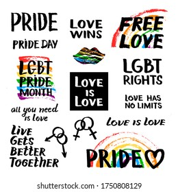 Vector color set illustration hand drawn quote gay pride lettering and rainbow spectrum flag, lips isolated on white background.  LGBT rights concept. Design for banner, card, print, textile