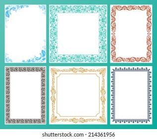 Vector color set. Ornate frames and vintage scroll elements illustration