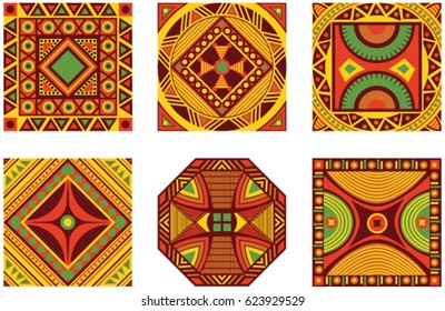 Vector color set of square African ornament