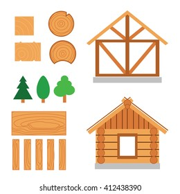 Vector color set of wood house tip and  constuction material