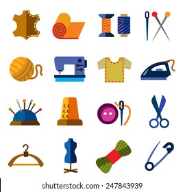 vector color sewing icons on white background