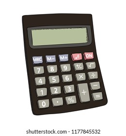 Vector color sketch of calculator. Hand draw illustration isolated on white background.