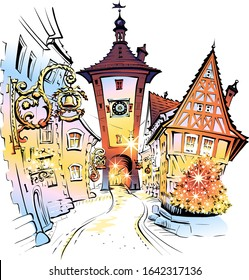 Vector color sketch of Christmas medieval old town of Rothenburg ob der Tauber, Bavaria, part of Romantic Road through southern Germany