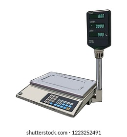 Vector color sketch of electronic scales for weighing food on a white background. Hand drawn illustration.