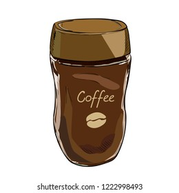 Vector color sketch of glass jar with coffee. Hand drawn illustration isolated on white background.