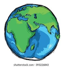Vector Color Sketch Illustration - Globe