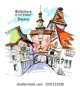 Vector color sketch of Markusturm in medieval old town of Rothenburg ob der Tauber with City name, Bavaria.