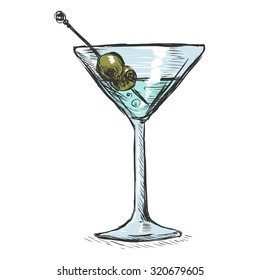 Vector Color Sketch Martini Glass with Green Olives
