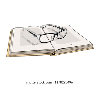 Vector color sketch of open book and glasses. Hand drawn illustration.