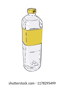 Vector color sketch of plastic bottle. Hand draw illustration isolated on white background.