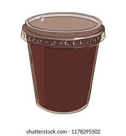 Vector color sketch of plastic cup with cap. Hand drawn illustration.