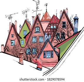 Vector color sketch of quaint facades and roofs of medieval old town, Rothenburg ob der Tauber, Bavaria, Germany
