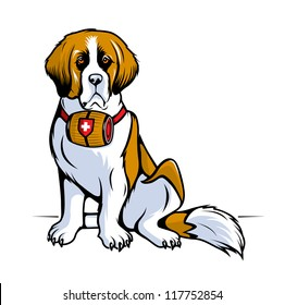 Vector color sketch of a seated St. Bernard dog. Fully Editable Vector Illustration.