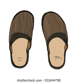Vector color sketch of slippers. Hand draw illustration.