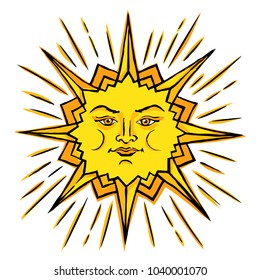Vector color sketch of a stylized sun with a female face. Ancient symbol of life. The pagan chief god is the universe. Hand drawn illustration.