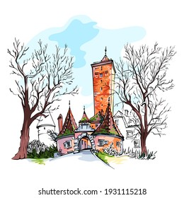 Vector color sketch of Western town gate and tower Burgturm and Stadttor in medieval Old Town of Rothenburg ob der Tauber, Bavaria