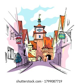 Vector color sketch of White tower or Weisser Turm in medieval old town of Rothenburg ob der Tauber, Bavaria