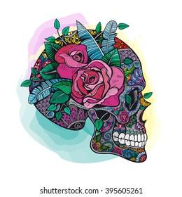 Vector Color Skull Roses Illustration