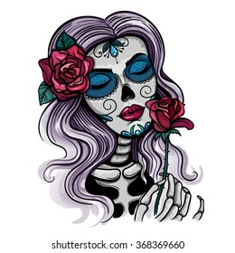 Vector Color Skull Woman Illustration
