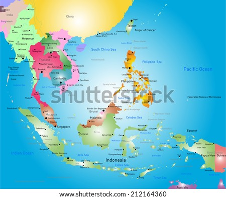 Vector Color Southeast Asia Map Stock Vector (Royalty Free ...