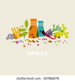 Vector color spices and herbs icon. Food sign. Healthy lifestyle illustration for print, web