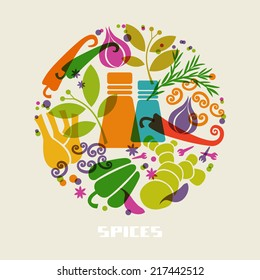 Vector color spices and herbs icon. Food sign. Healthy lifestyle illustration for print, web. Circle design element