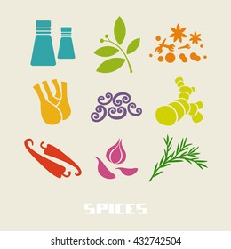 Vector color spices and herbs icon. Food color simple sign for menu and market. Healthy lifestyle illustration for print, web