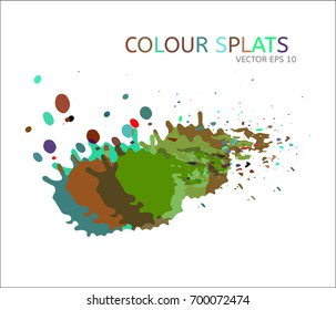 Vector color splats. Graphic paint splatter and drops. Logo or cover design modern simple elements. Funky hand painted digital iridescent ink traces. Trendy brush spots, spilled liquid illustration.