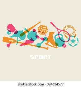 Vector color sport equipment icon. Healthy lifestyle concept sign. Fitness illustration for print, web