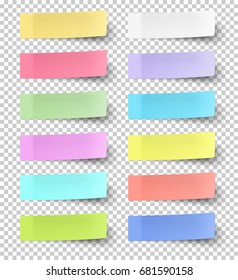 Vector color sticky notes isolated on transparent background
