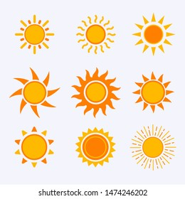 Vector color sun icon,sign,pictogram,symbol set isolated on a white background flat syle