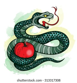 Vector Color Tattoo Snake Apple Illustration