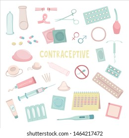 Vector color types of contraception collection. Color flat graphics on white background.