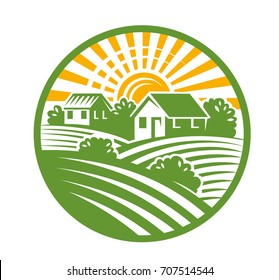 vector color village houses emblem and landscape