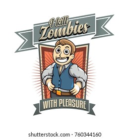 Vector color vintage style zombie killer sign drawing