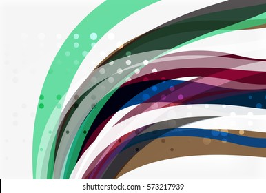 Vector color wave lines with dotted effect on light background. Template for workflow layout, diagram, number options or web design