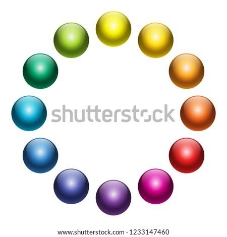 Vector Color Wheel Balls Set 12 Stock Vector Royalty Free