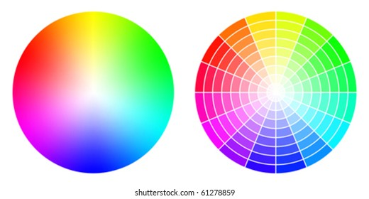 Vector color wheels in RGB color space. Created using gradient meshes and simple radial sectors