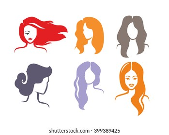 vector color woman icon on white background